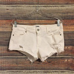 Paige cut off distressed white shorts